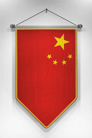 rendering: Pennant with flag of the People's Republic of China. 3D illustration with highly detailed texture. Stock Photo