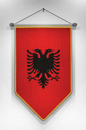 pennant: Pennant with Albanian flag. 3D illustration with highly detailed texture. Stock Photo