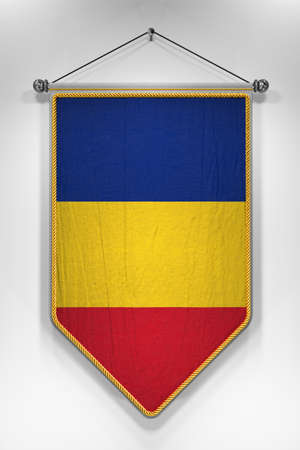 romanian: Pennant with Romanian flag. 3D illustration with highly detailed texture. Stock Photo