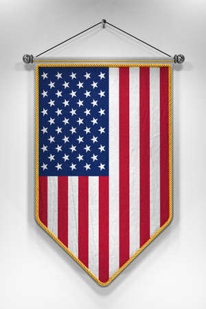 pennant: Pennant with USA flag. 3D illustration with highly detailed texture.