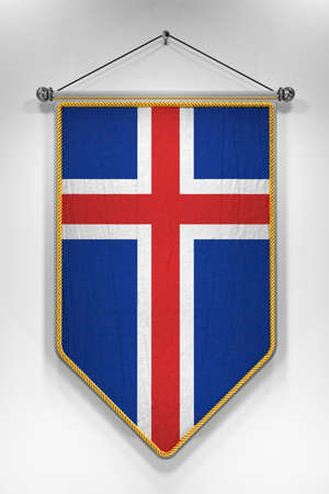 pennon: Pennant with Icelandic flag. 3D illustration with highly detailed texture. Stock Photo