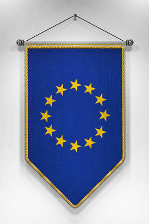coalition: Pennant with European Union flag. 3D illustration with highly detailed texture. Stock Photo