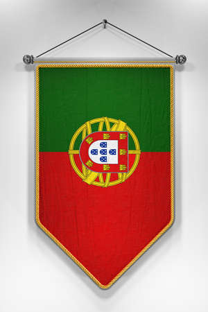 pennon: Pennant with Portuguese flag. 3D illustration with highly detailed texture.