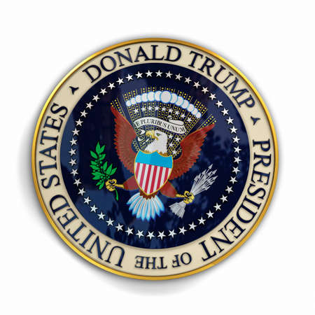 donald: CLEVELAND, OH - July 18, 2016: Illustration of presidential seal with Donald Trumps name on it.