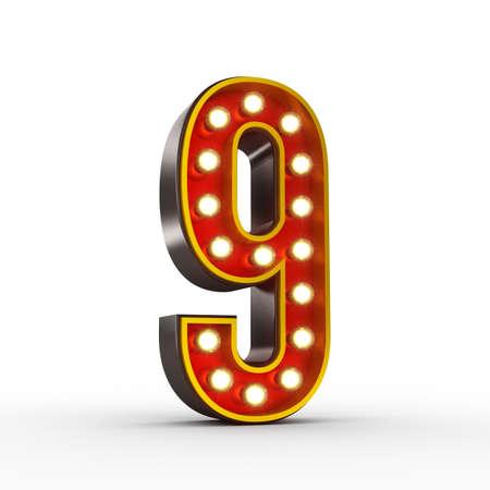 numero nueve: Ilustración 3D de alta calidad del número nueve en el estilo de la vendimia con las bombillas que iluminan la misma. Aseguramiento camino. Foto de archivo