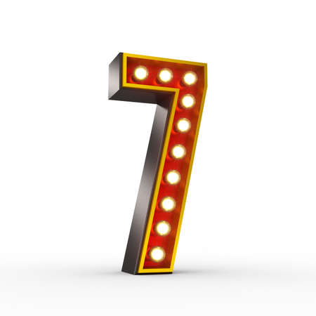 High quality 3D illustration of the number seven in vintage style with light bulbs illuminating it. Clipping path included.