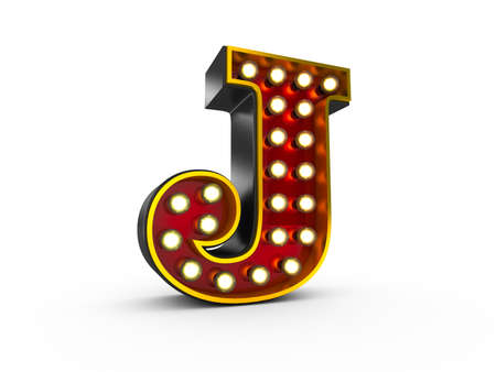 High quality 3D illustration of the letter J in Broadway style with light bulbs illuminating it over white background 写真素材
