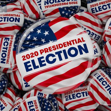 Ilustración 3D de botones de elecciones presidenciales de Estados Unidos.