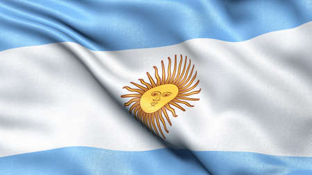 3D illustration of the flag of Argentina waving in the wind