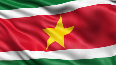 3D illustration of the flag of Suriname waving in the wind. Stockfoto