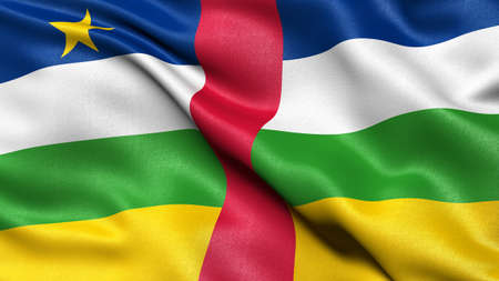 3D illustration of the flag of Central African Republic waving in the wind.
