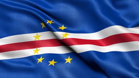3D illustration of the flag of Cape Verde waving in the wind.