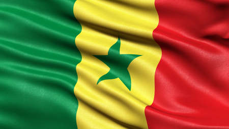 3D illustration of the flag of Senegal waving in the wind.
