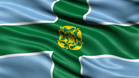 Flag of Derbyshire waving in the wind. 3D illustration. Stock Photo