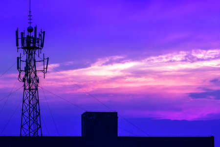communication tower: Communication tower with beautiful sunset as background Stock Photo