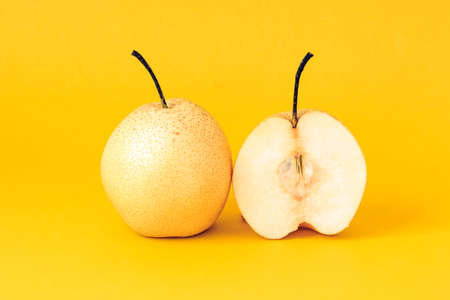 solid color background: Solid color background shot of pear