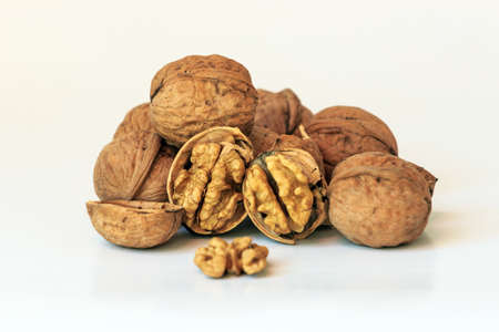 protein crops: Walnut white background