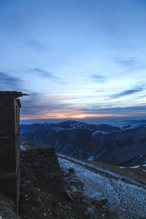 sunrise mountain: Landscape view of Wutai Mountain Sunrise Stock Photo