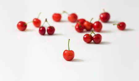 Ripe and delicious cherries on white background Stock Photo