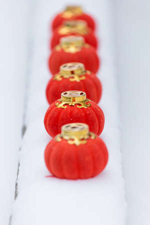 The red lanterns in the snow