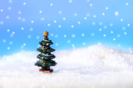 The Christmas tree in the snow Stock Photo