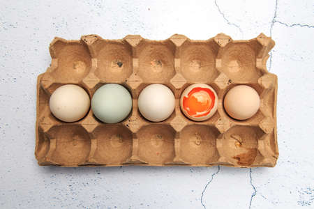 A pile of different kinds of eggs Banco de Imagens