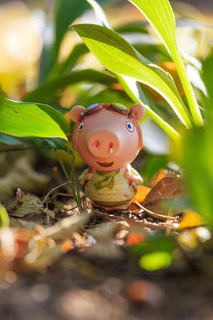 Pig doll traveling outdoors Banco de Imagens - 111179147