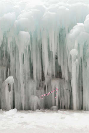 Peculiar landscape in winter - ice hanging