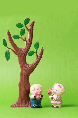 Two pig dolls in green background