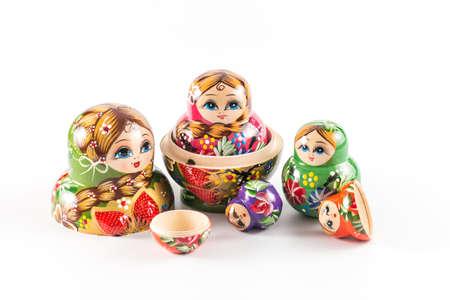 Russian dolls on white background Stockfoto