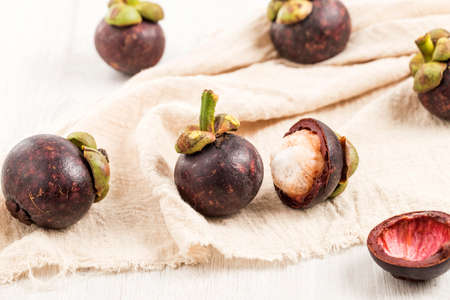 Fresh, delicious and nutritious mangosteen 스톡 콘텐츠
