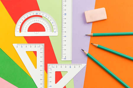 Student stationery such as pencils, erasers, rulers and compasses