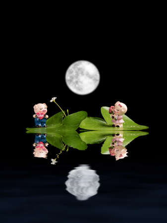Two little pig dolls under the full moon