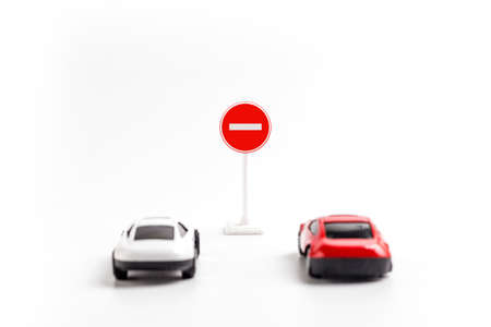 Car model and traffic warning signs