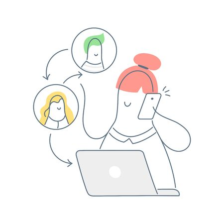 Assignment of tasks, scram, meeting, job delegation. Manager works with computer and phone. Employee management, management of people, business, relationships. Flat line vector illustration on white. Vector Illustration