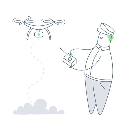 Drones and autonomous vehicles. Cute cartoon man in a pilot's cap launches a drone with the help of radio control. Pilotless machine with a camera. Flat line vector illustration on white.