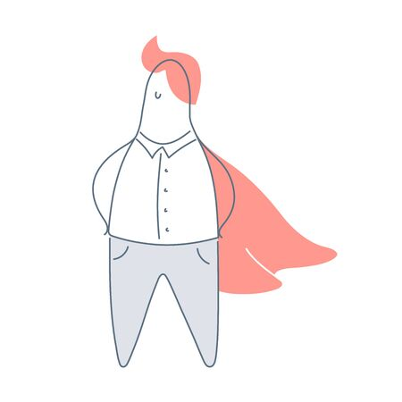 Hero, superhero businessman with a red cloak.   brave and courage person, problem solver, the best employee. Flat linear vector illustration on white. Çizim