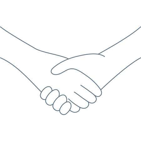 Shaking hands. Friend welcome, introduction, friendship, partnership, finishing up a meeting, contract or agreement concept. Line clean isolated vector illustration on white.