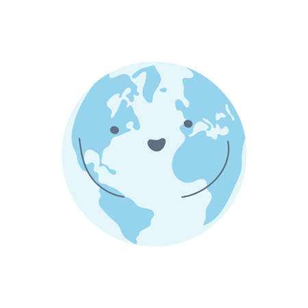 Planet Day, planet ecology, environment protection, save Earth. Blue happy cartoon Earth character. Flat line isolated  icon illustration on white. Ilustracja