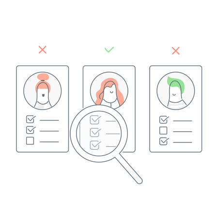 Recruitment, finding the right employee through magnifying glass to hire candidates. Recruitment, cv or user portfolio analysis, hiring or recruitment. Flat line light  illustration on white