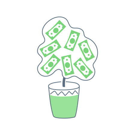 Money tree made of dollars. Return Investment, profit growth, ROI, financial success icon, the expectation of some benefit in the future concept. Flat line isolated  illustration on white.