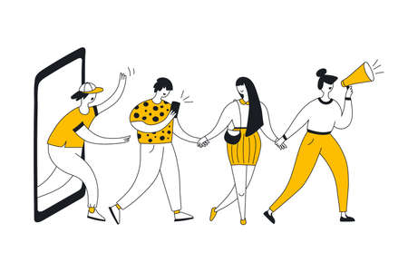 Refer a friend loyalty program, referral marketing and promotion method. Group of people, users or customers holding hands and walking out of giant mobile phone display. Flat line vector illustration.