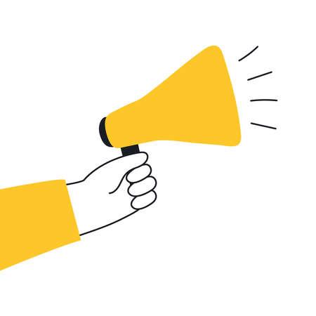 Hand holding megaphone or loudspeaker. Refer a friend, promotion, message, offer, PR, announcement. Banner for business, marketing or advertising. Flat line modern icon vector illustration on white.