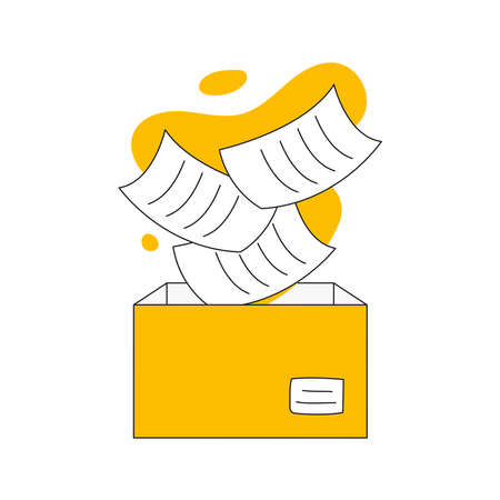 Falling sheets of paper in a box concept. Document storage, save, backup, import or copy files to the cardboard box vector illustration on white.