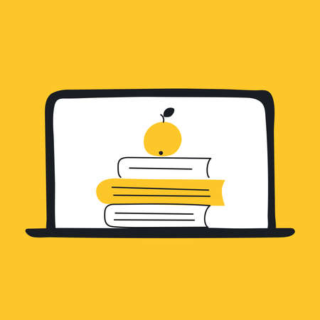Online education icon composition with laptop and book library. Online course, tutorial, university, internet studying or training concept. Flat line isolated modern vector illustration on yellow. Ilustrace