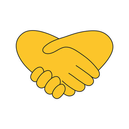 Shaking hands. Friend welcome, introduction, friendship, partnership, finishing up a meeting, contract or agreement concept. Line yellow isolated vector illustration on white.