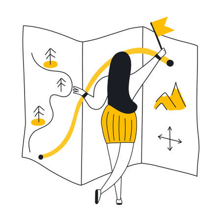 Road map and journey route infographics template. Cute cartoon girl planning and drawing the route with start and end points. Flat line yellow modern UI UX vector illustration on white background.