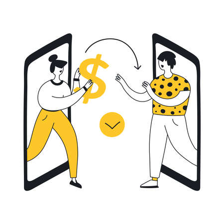 Two smartphones and woman giving giant dollar sign to man. From hand to hand concept, transaction, secure mobile payment, money transfer service, donation. Flat line modern vector illustration icon.