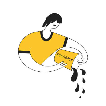 Get feedback, survey, critique reviews or response from customer or user. Cute cartoon man pours a bucket of water. Creative line yellow vector illustration on white background.  イラスト・ベクター素材