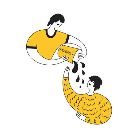 Get feedback, survey, critique reviews or response from customer or user. Cute cartoon man pours a bucket of water on a second person. Creative line yellow vector illustration on white background. Illustration